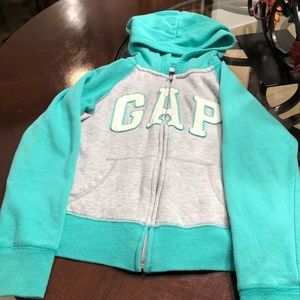 Gap girl's hooded coat, green - gray.  size 10